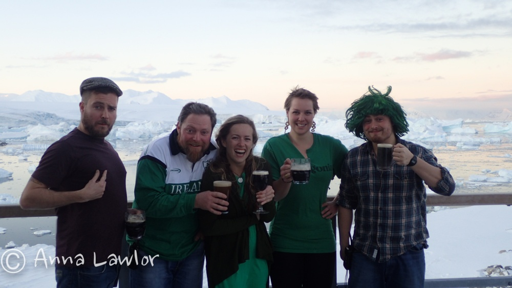 St. Patrick's Day in in Antarctica. Trying to look warm.
